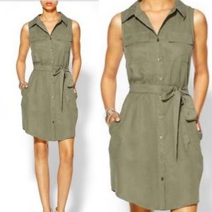 Hive & Honey olive army green tencel tunic dress